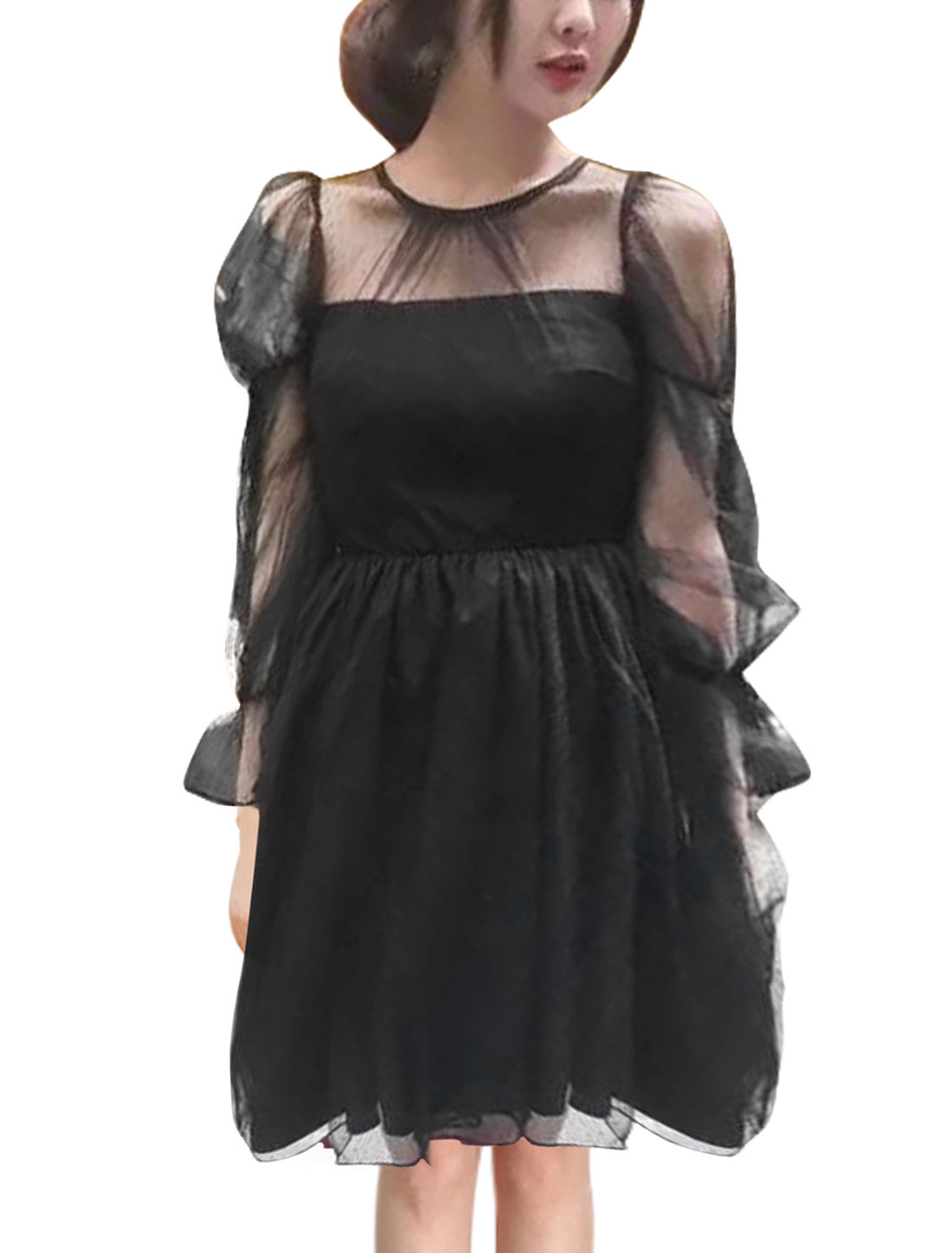 Women Semi Sheer Yoke Mesh Layered Mini A Line Dress Black S
