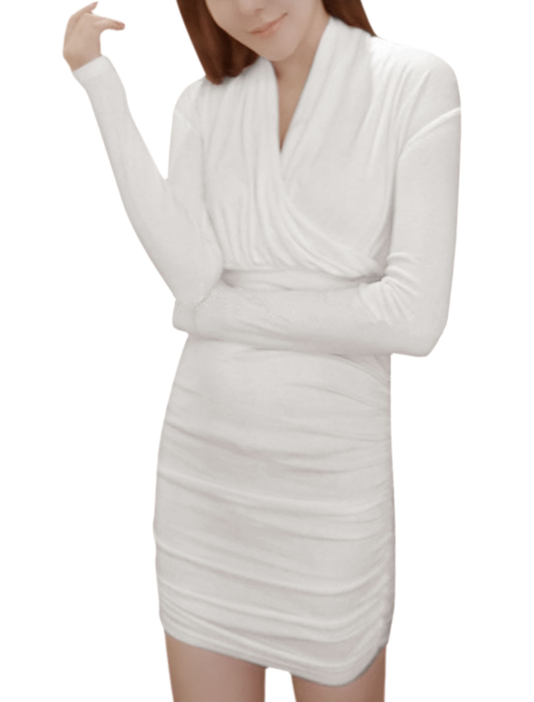 Women Long Sleeves Wrap Design Shirred Bodycon Dress White XS