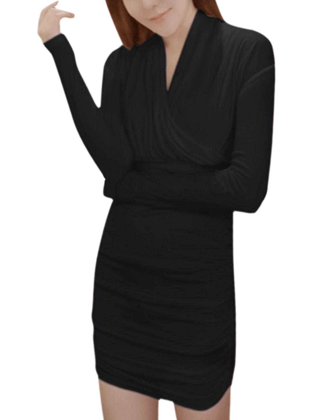 Women Long Sleeves Wrap Design Shirred Bodycon Dress Black XS