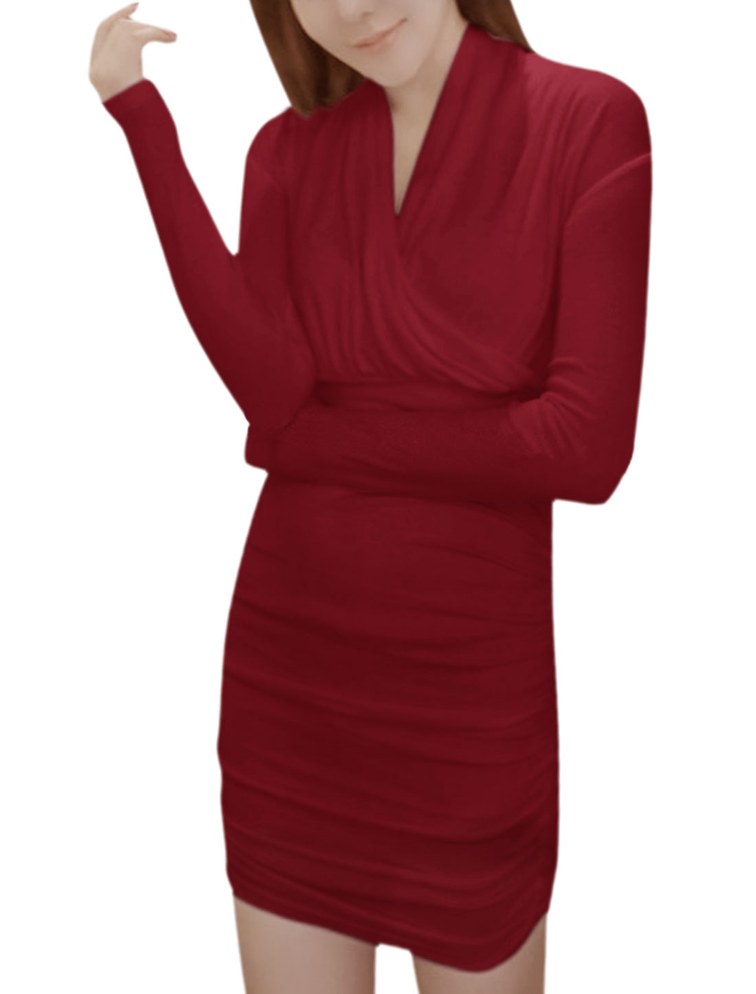 Women Long Sleeves Wrap Design Shirred Bodycon Dress Red XS