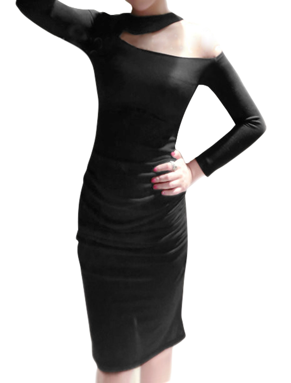 Women Crew Neck One Cut Out Shoulder Ruched Bodycon Dress Black M