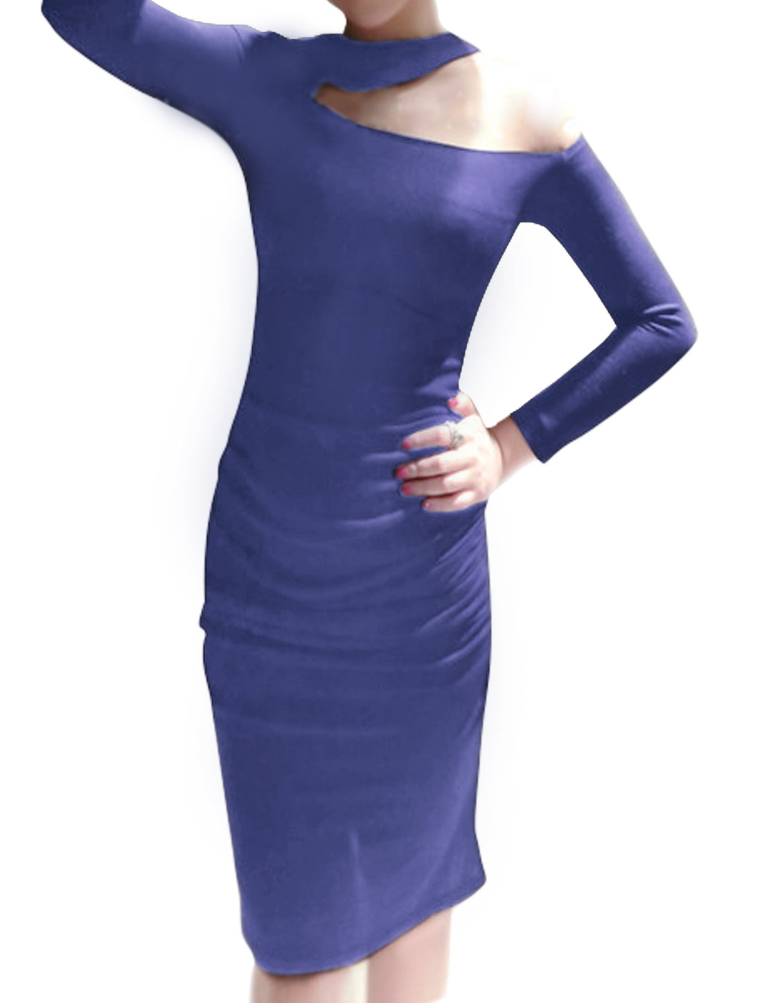 Women Crew Neck One Cut Out Shoulder Ruched Bodycon Dress Blue M