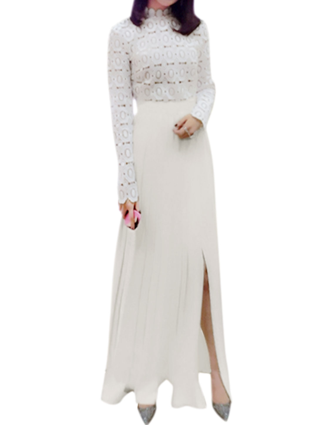 Women Stand Collar Split Side Crochet Pleated Maxi Dress White S