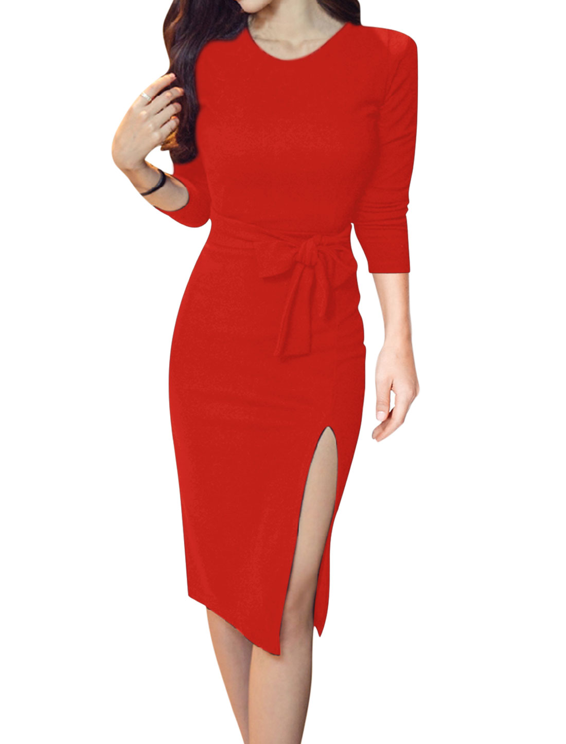 Women Split Side Slim Fit Bodycon Dress w Waist String Red S