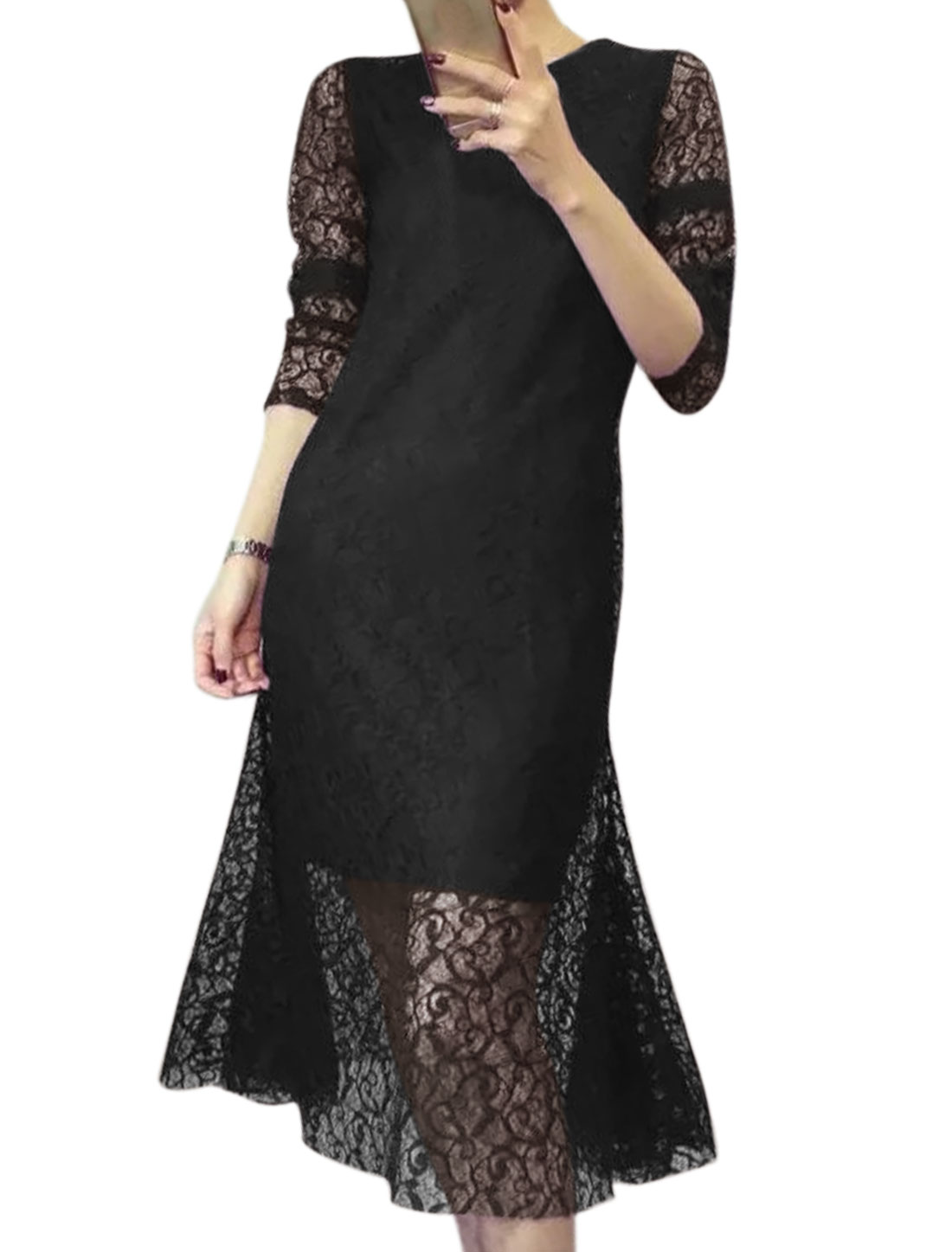 Women Long Sleeves Mid Calf Flare Hem Slim Fit Lace Dress Black S
