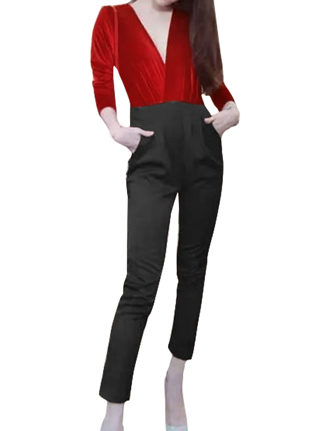 Women Deep V Neck Velvet Panel Contrast Color Cropped Jumpsuit Red XS