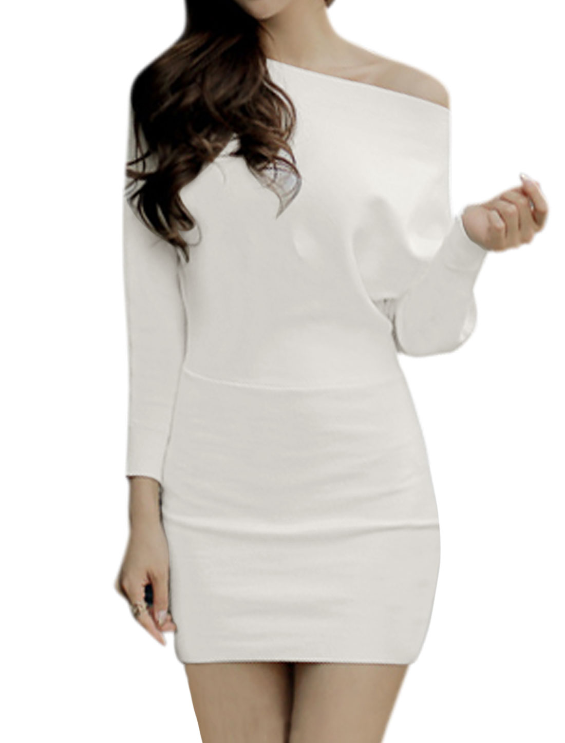 Women Boat Neck Batwing Sleeves Mini Blouson Dress White S