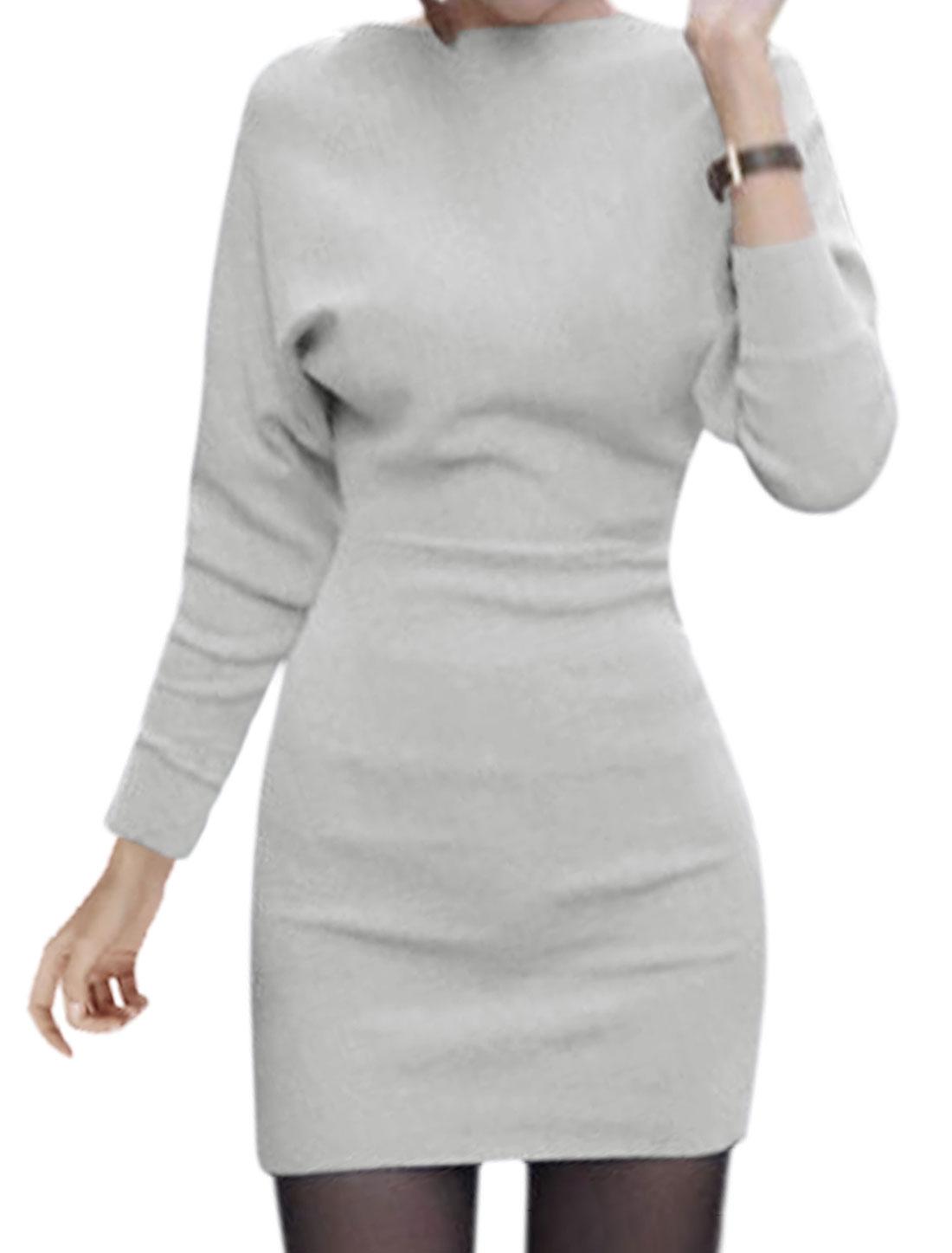 Women Boat Neck Batwing Sleeves Mini Blouson Dress Gray S