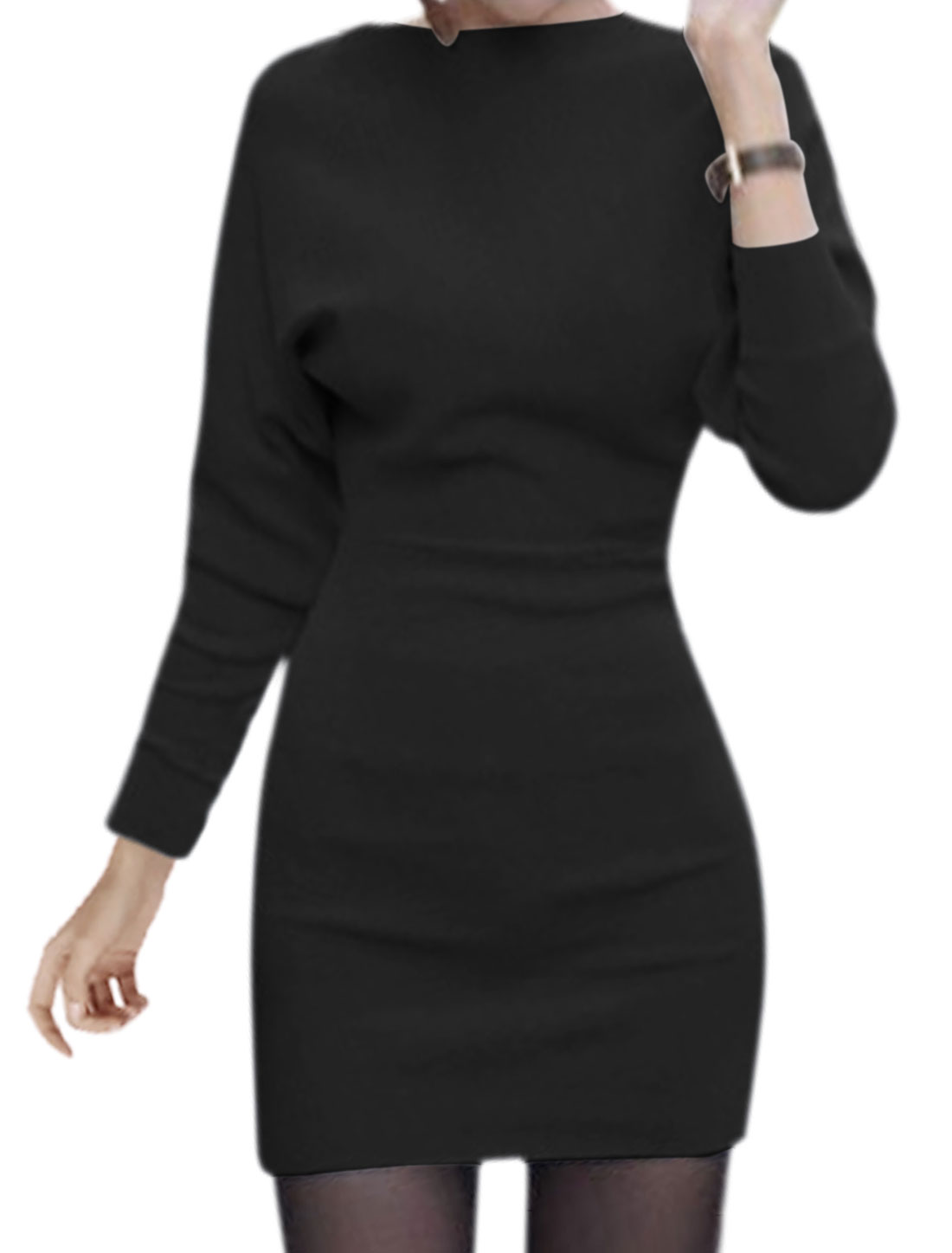 Women Boat Neck Batwing Sleeves Mini Blouson Dress Black S