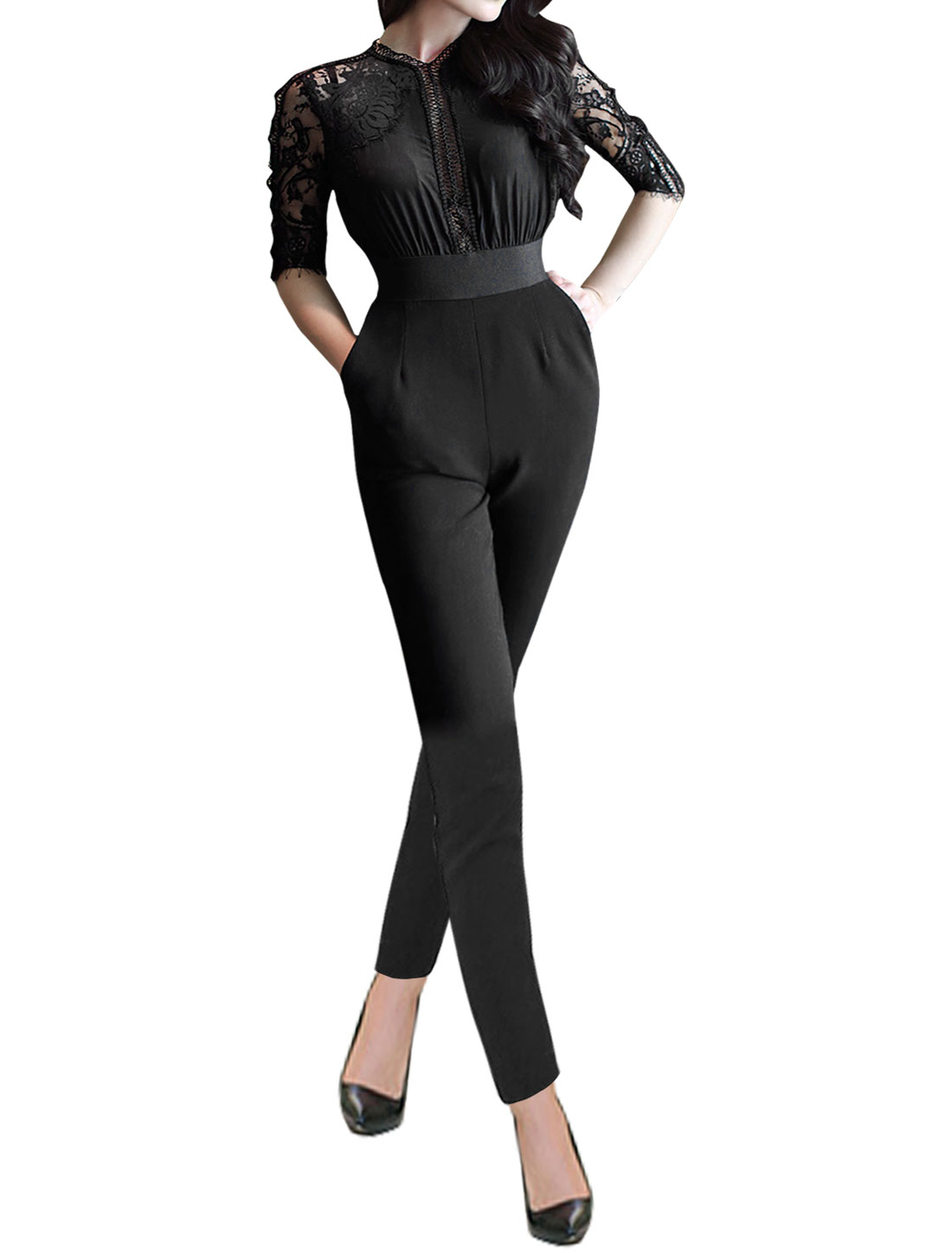 Women V Neck Lace Panel Hollow Out Elastic Waist Slim Fit Jumpsuit Black XS