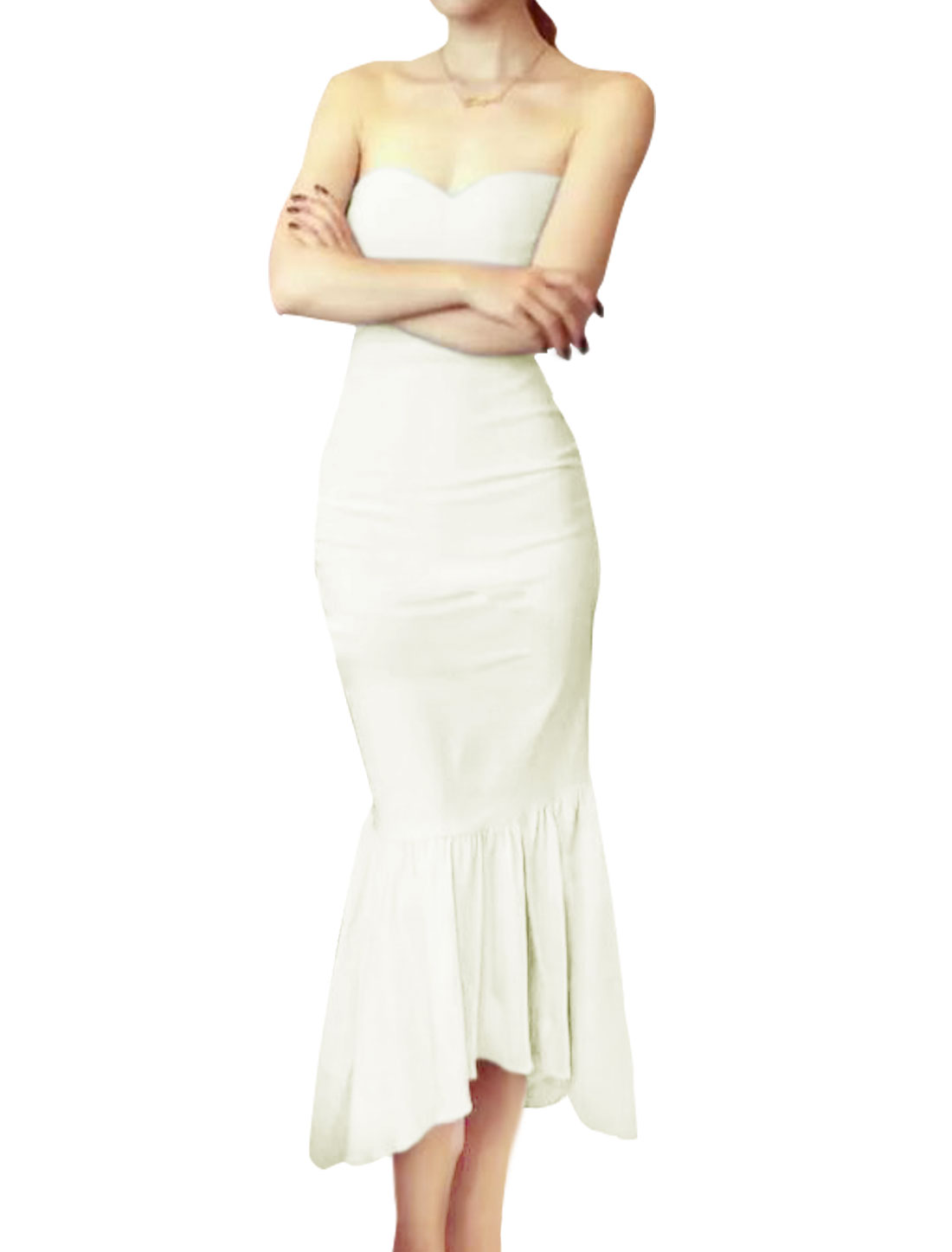 Women Sweetheart Neckline High Low Hem Fishtail Dress White XS