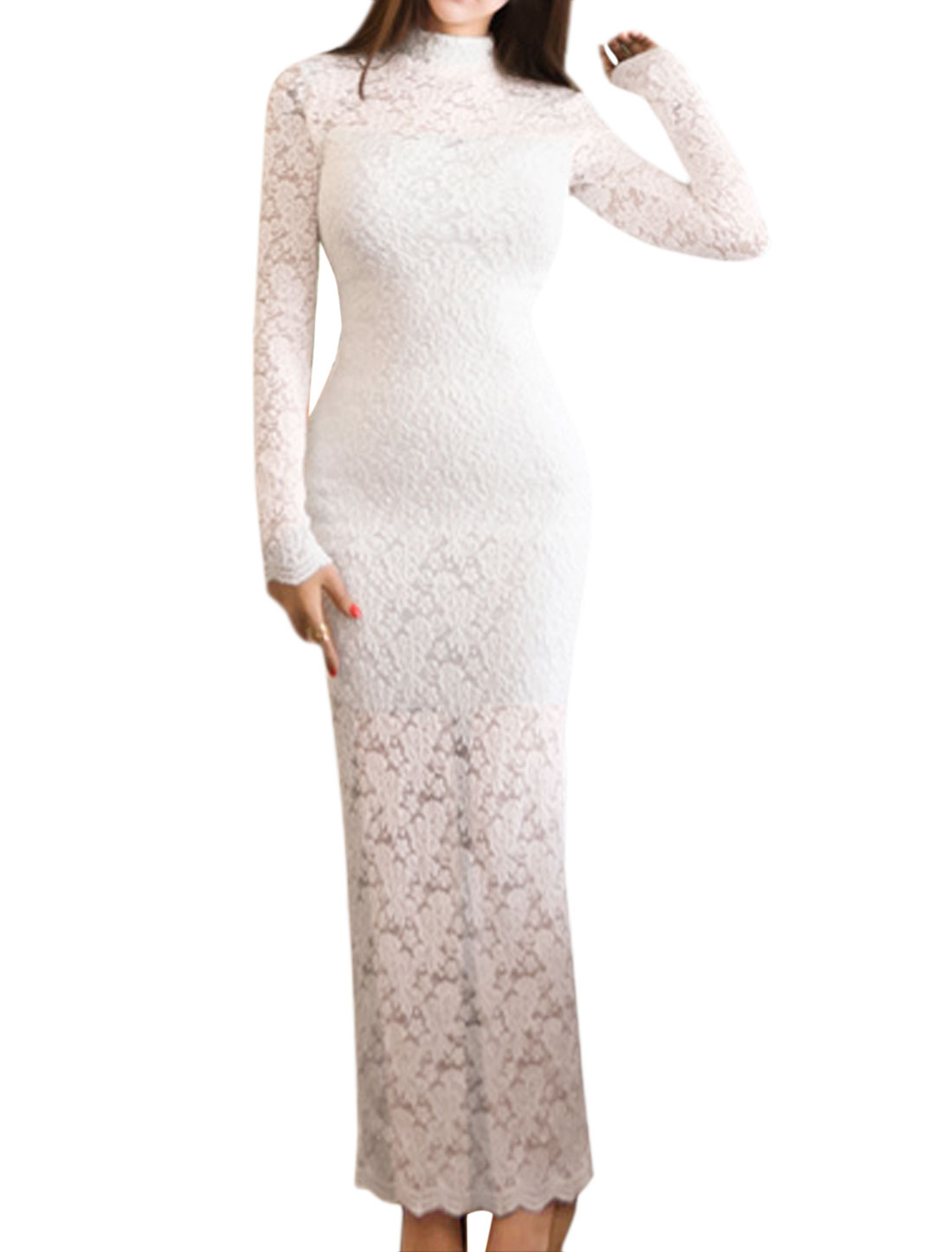Women Floral Lace See Through Bodycon Dress White XS