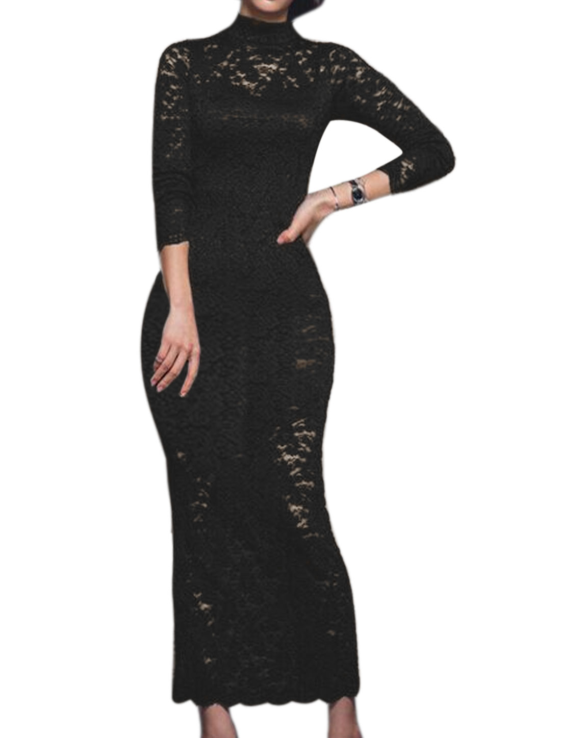 Women Floral Lace See Through Bodycon Dress Black XS