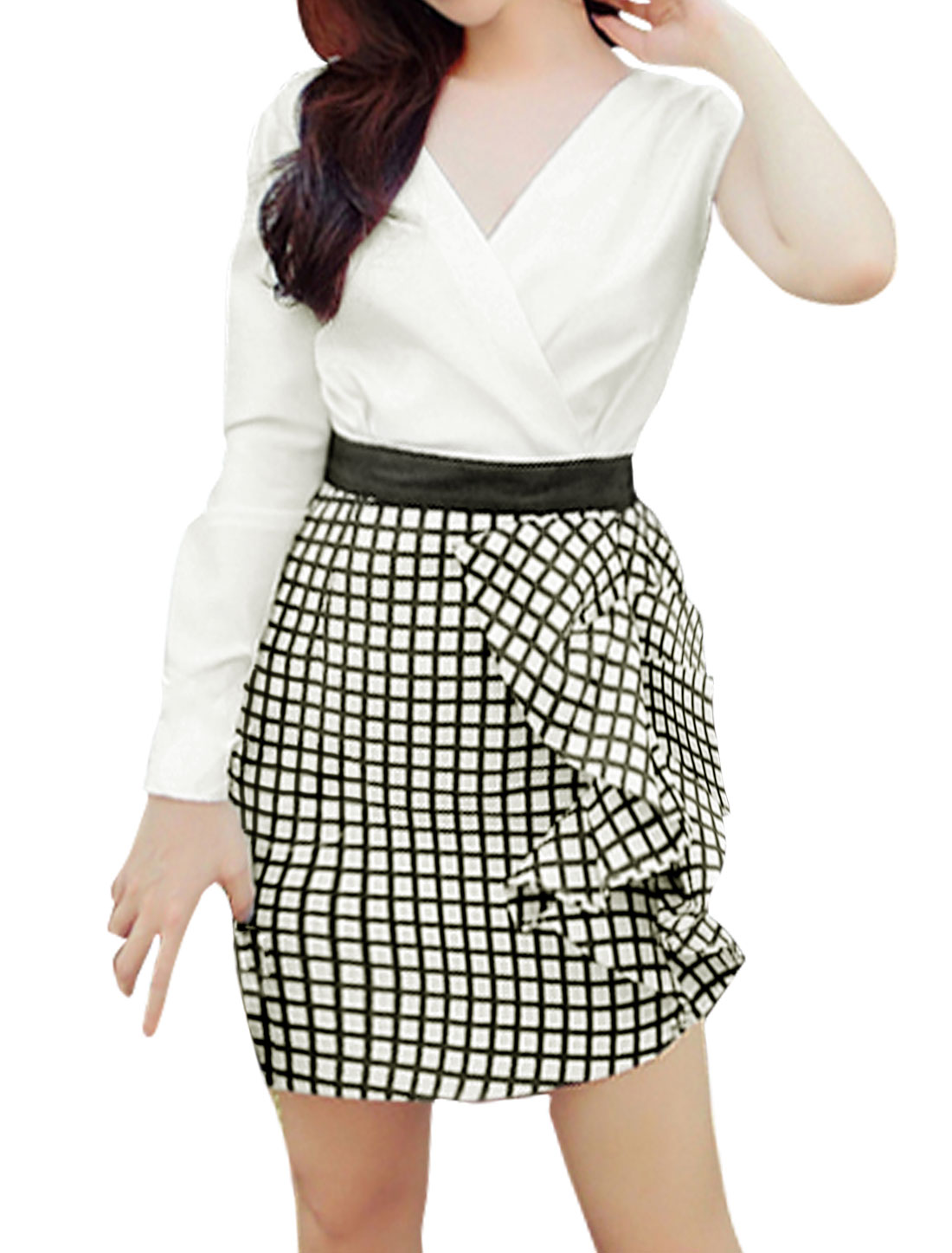 Women One Long Sleeves Plaids Panel Flouncing Decor Mini Sheath Dress White S