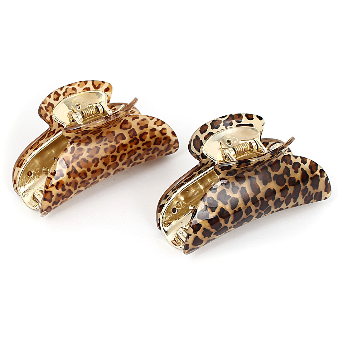 Women Leopard Pattern Hairdressing Hairpin Hair Clip Claw 86mm Long 2pcs