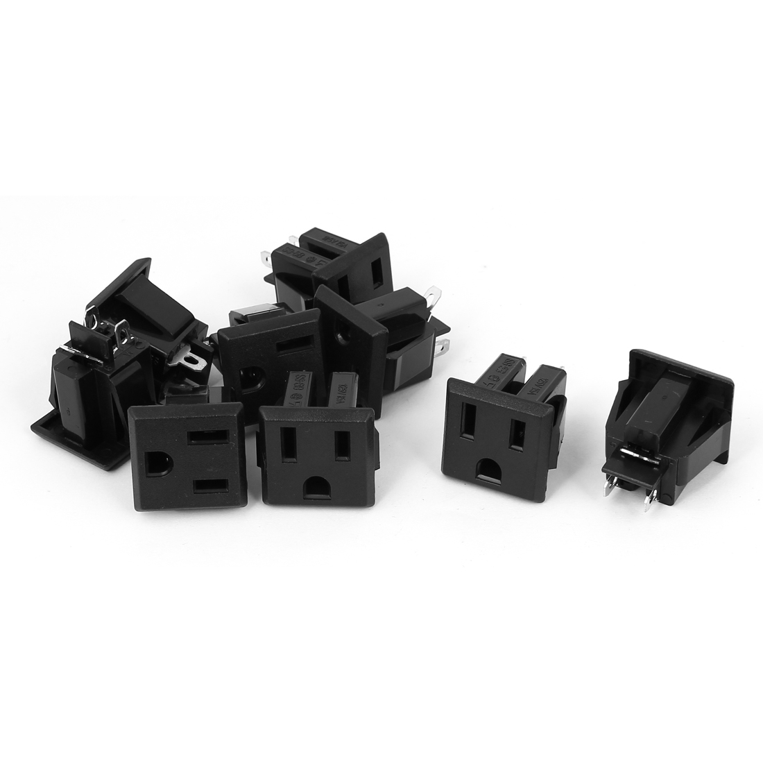 9pcs Black Plastic AC 125V 15A Panel Mount US Outlet Power Socket