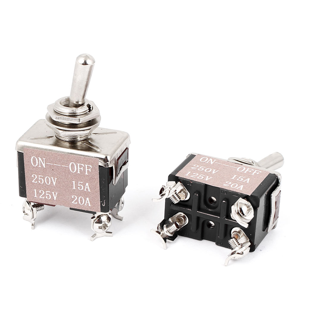 AC 250V/15A 125V/20A DPST ON-OFF 4 Terminals Latching Toggle Switch 2pcs