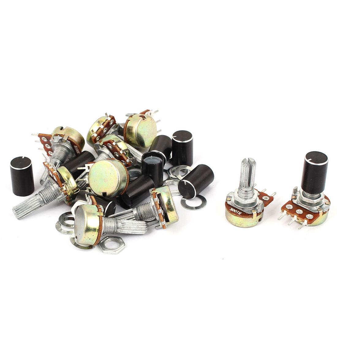 10pcs B100K Shaft 20mm 3 Terminal Single Linear Potentiometer Pot 100K Ohm