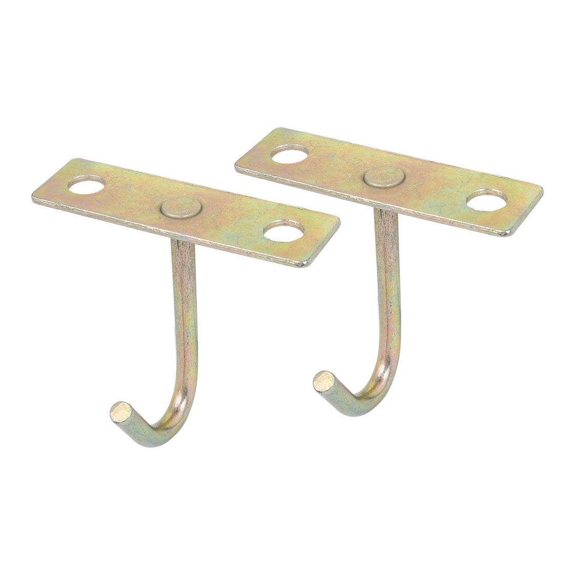 J Shaped Metal Ceiling Mount Hook Hanger 77mm Height Bronze Tone 2pcs