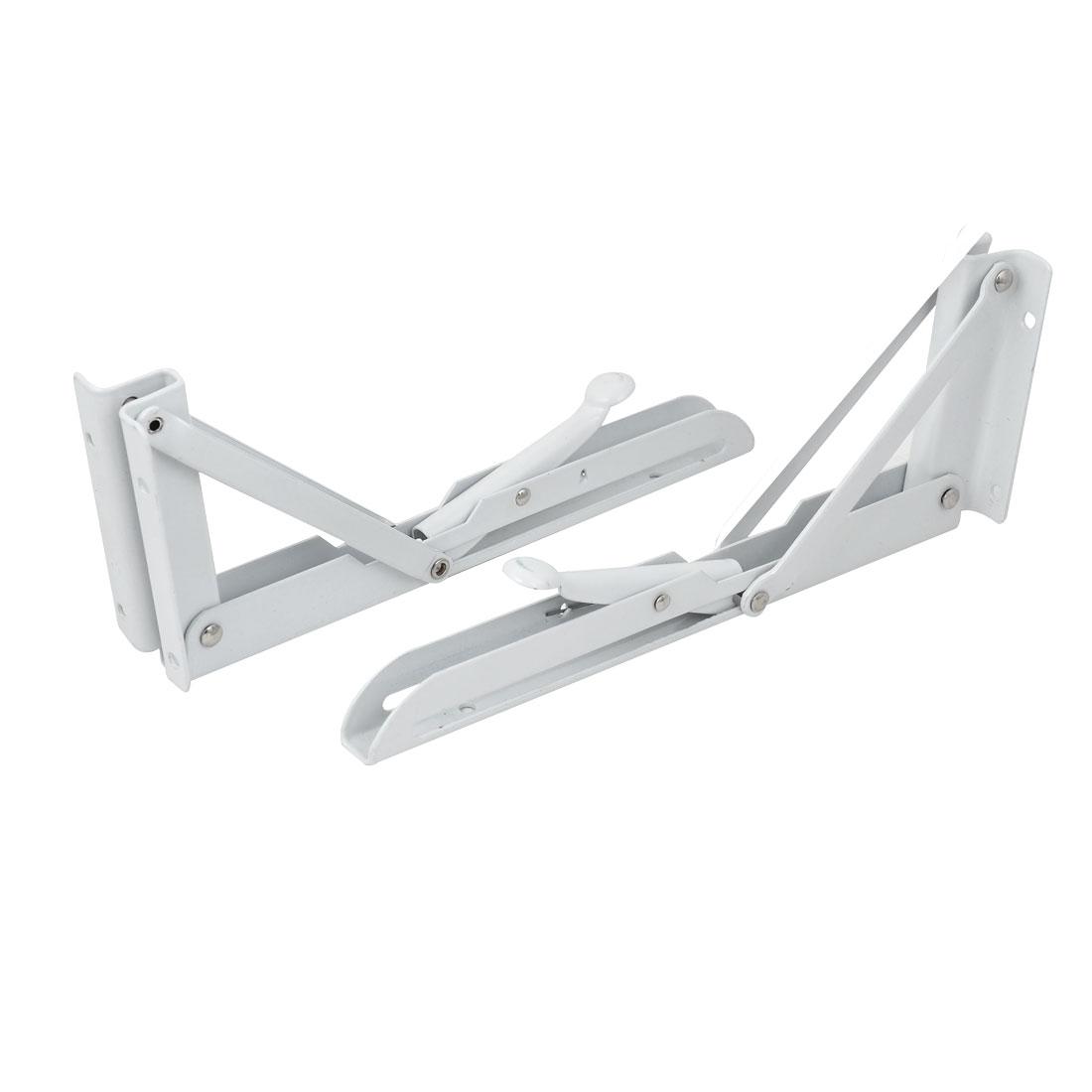 25cmx9cm Metal Long Release Triangle Folding Support Shelf Bracket Brace White 2pcs
