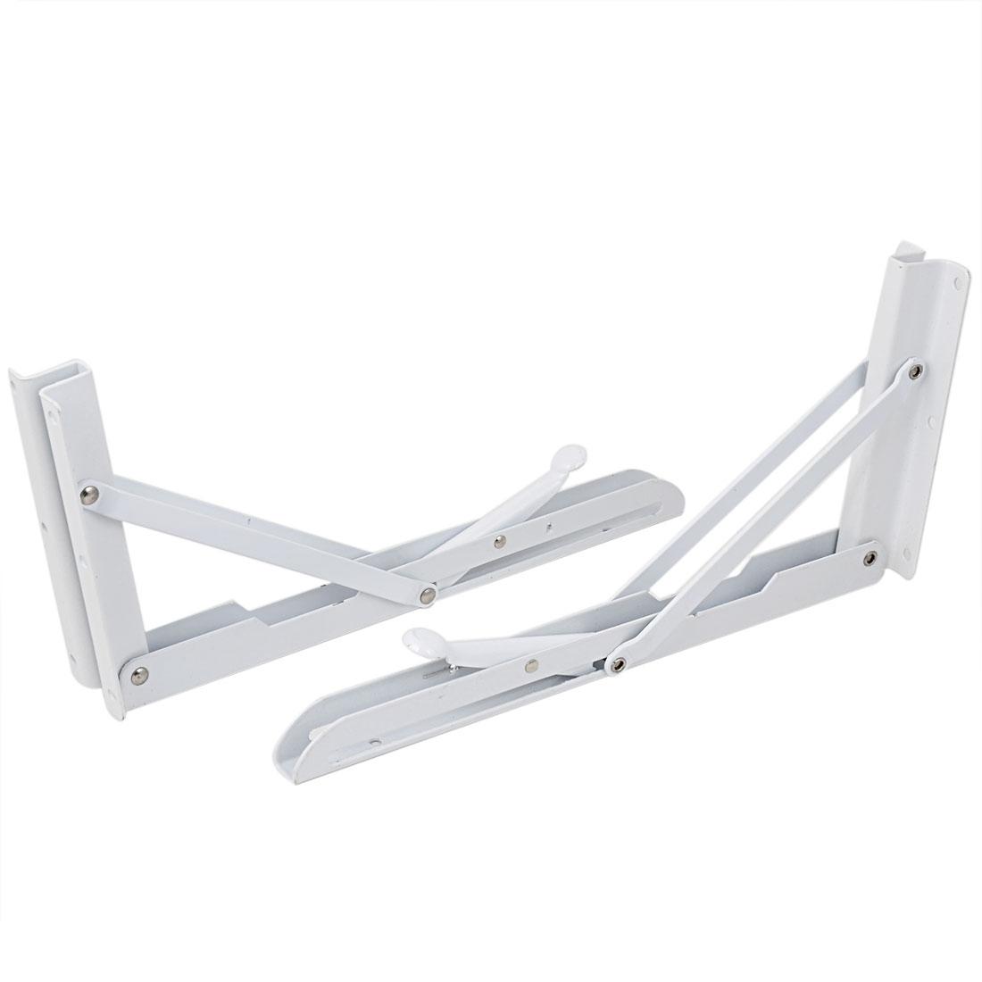 30cmx15cm Metal Long Release Triangle Folding Support Shelf Bracket Brace White 2pcs