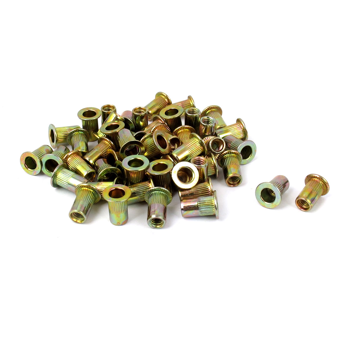 M4x11mm Zinc Plated Flat Head Blind Rivet Nuts Insert Nutserts 50pcs
