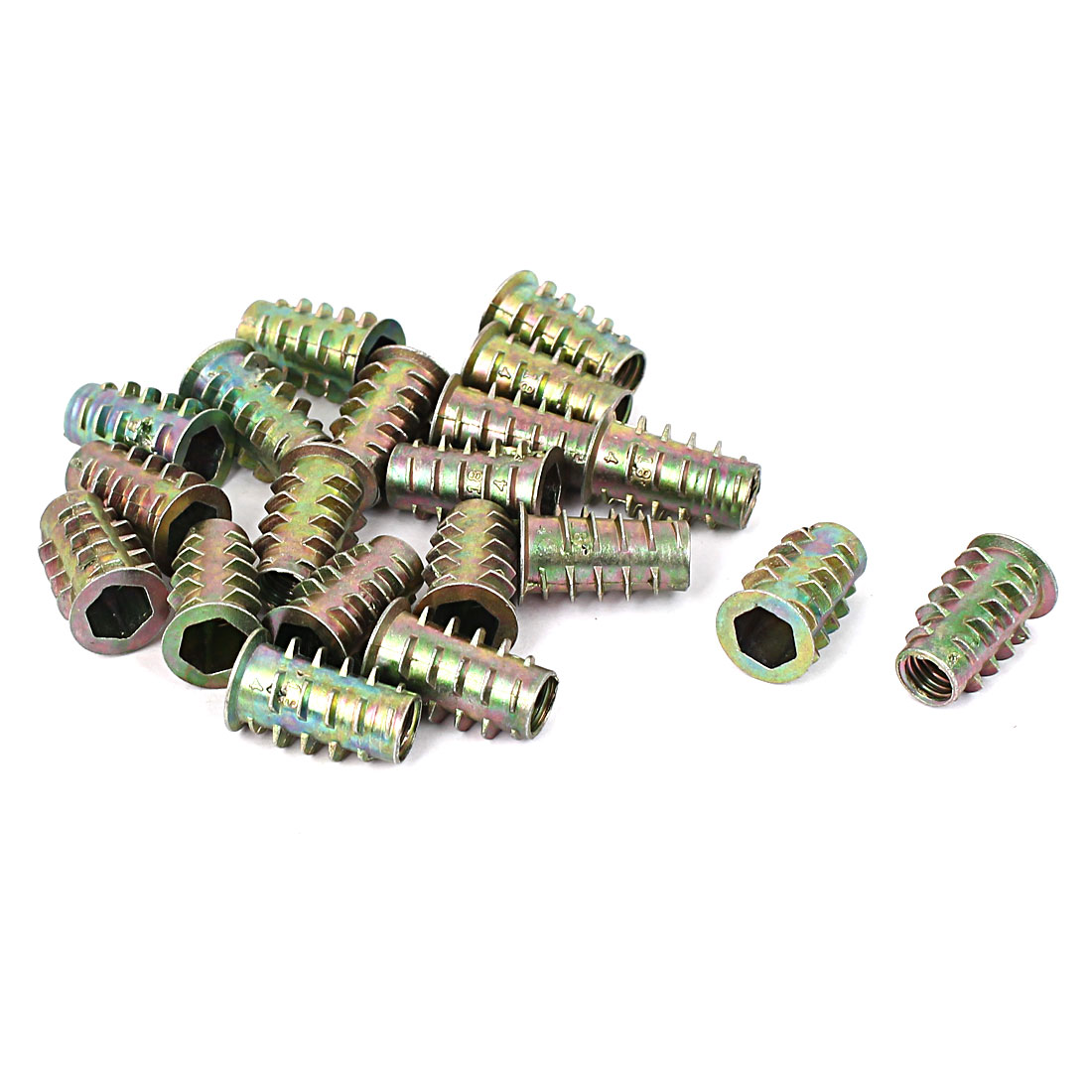 Furniture Hex Drive Head Threaded Insert Nut M6x17mm 20pcs for Wood