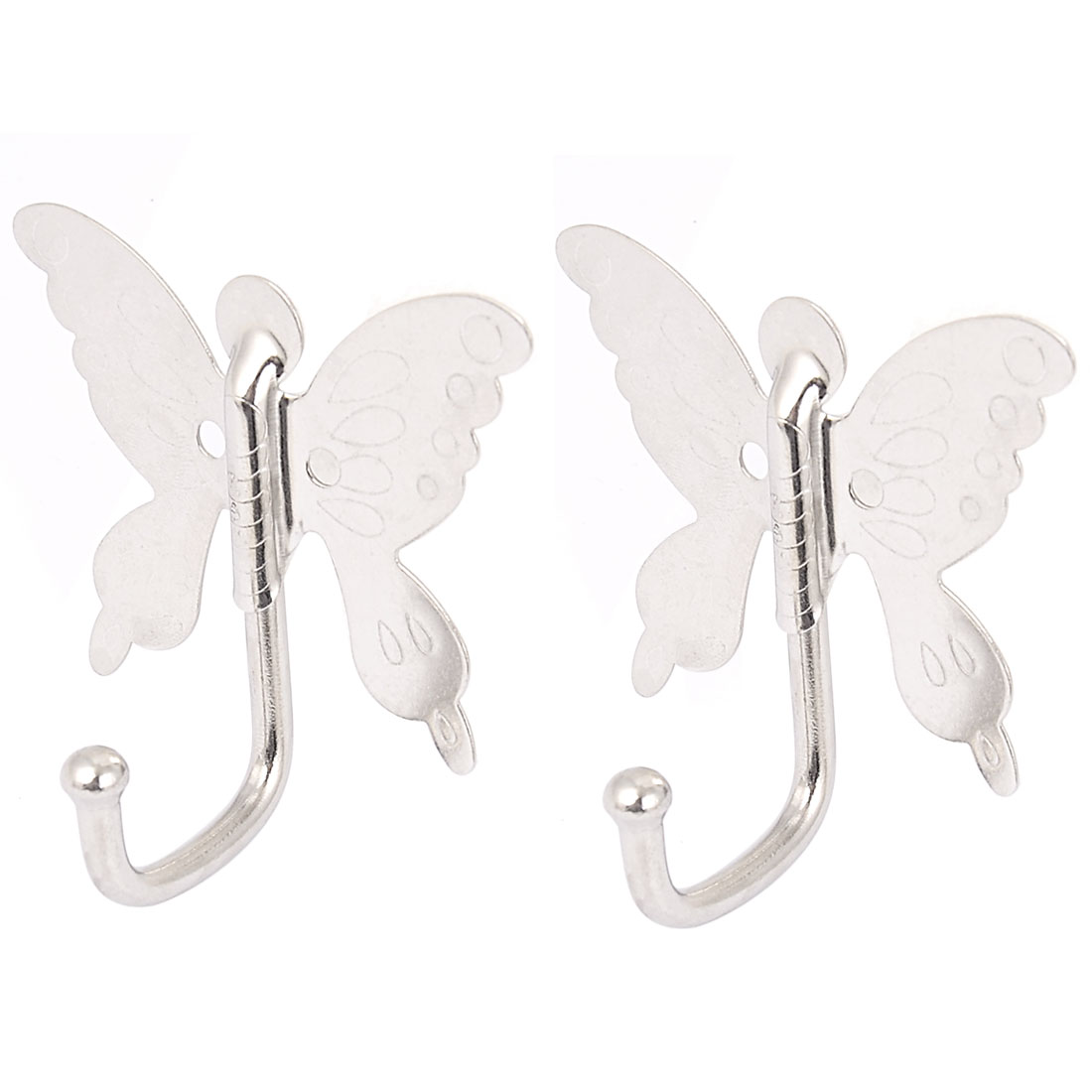 Bedroom Bathroom Butterfly Style Wall Mounted Cloth Towel Hook Hanger 2pcs