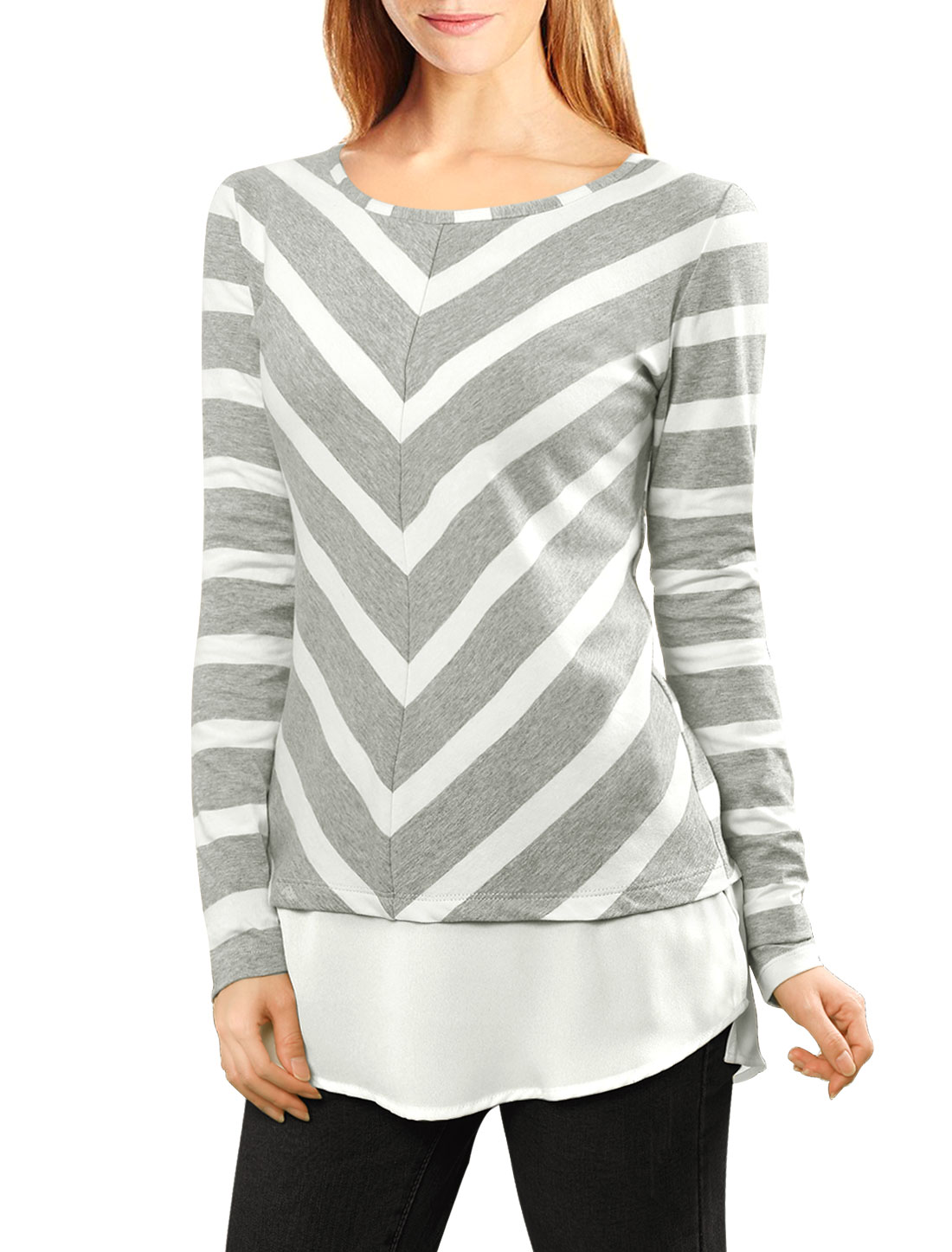 Women Layered Tunic Top in Striped and Chevron Print Gray M