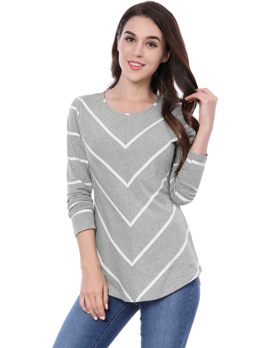 Women Long Sleeves Scoop Neck Striped Chevron Print Top Gray M