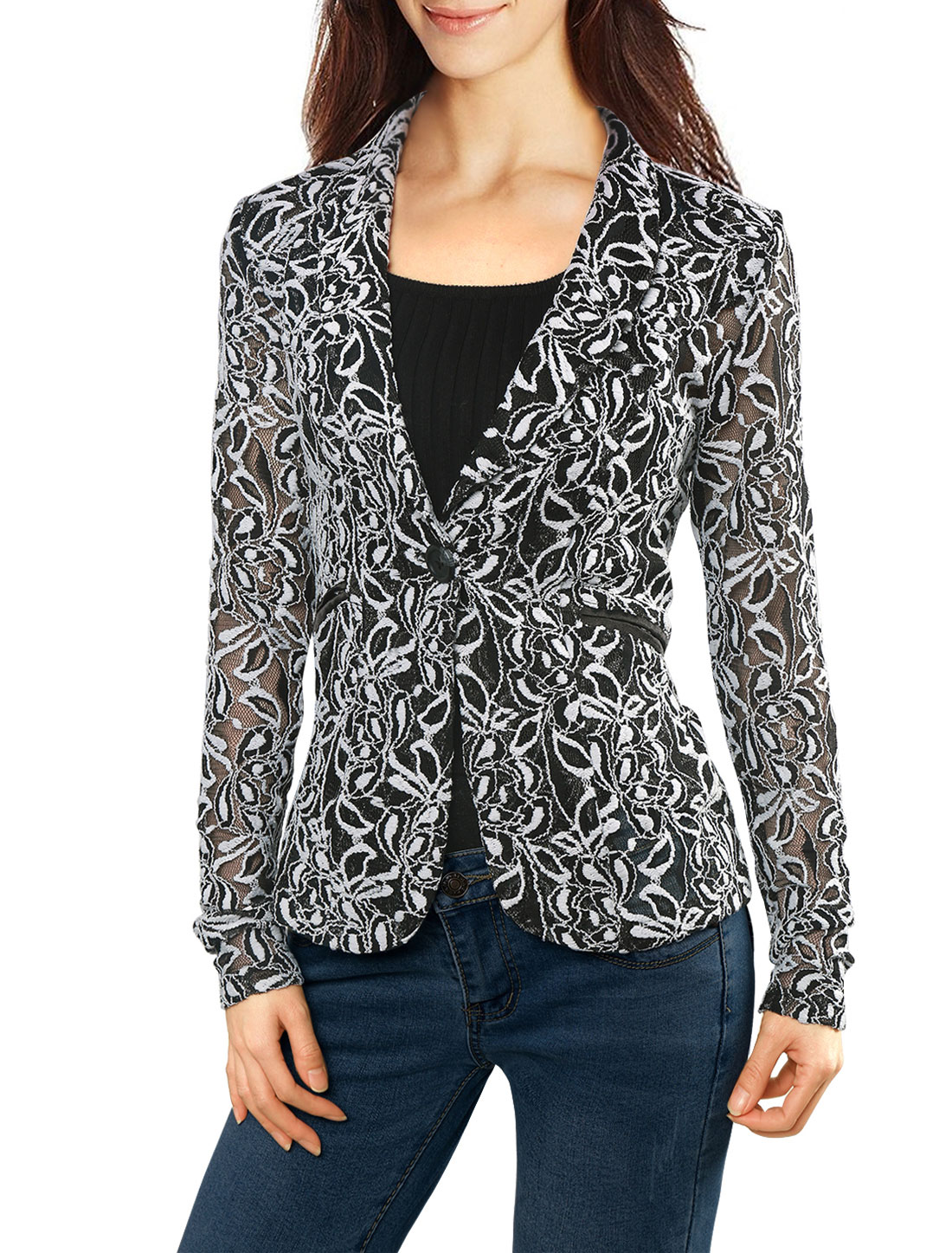 Women Shawl Collar See Through Floral Lace Blazer Jacket White L
