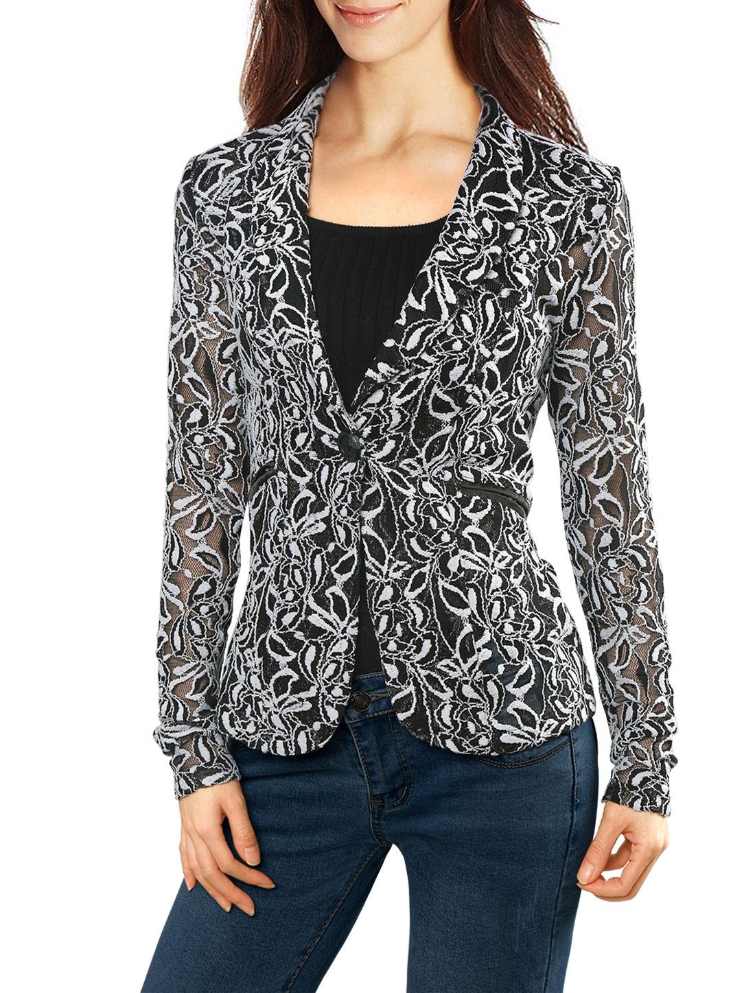 Women Shawl Collar See Through Floral Lace Blazer Jacket White L