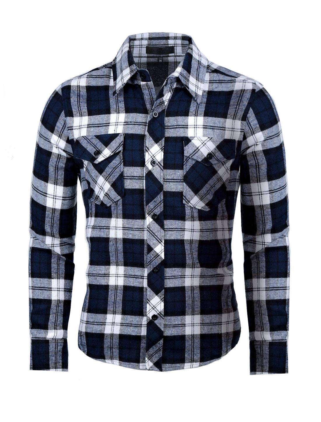Men Long Sleeves Plaids Button Up Flannel Shirt Blue S