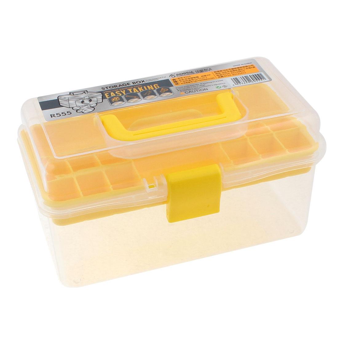 Plastic 2 Layers Nail Art Craft Makeup Fish Hook Screws Storage Box Case Yellow