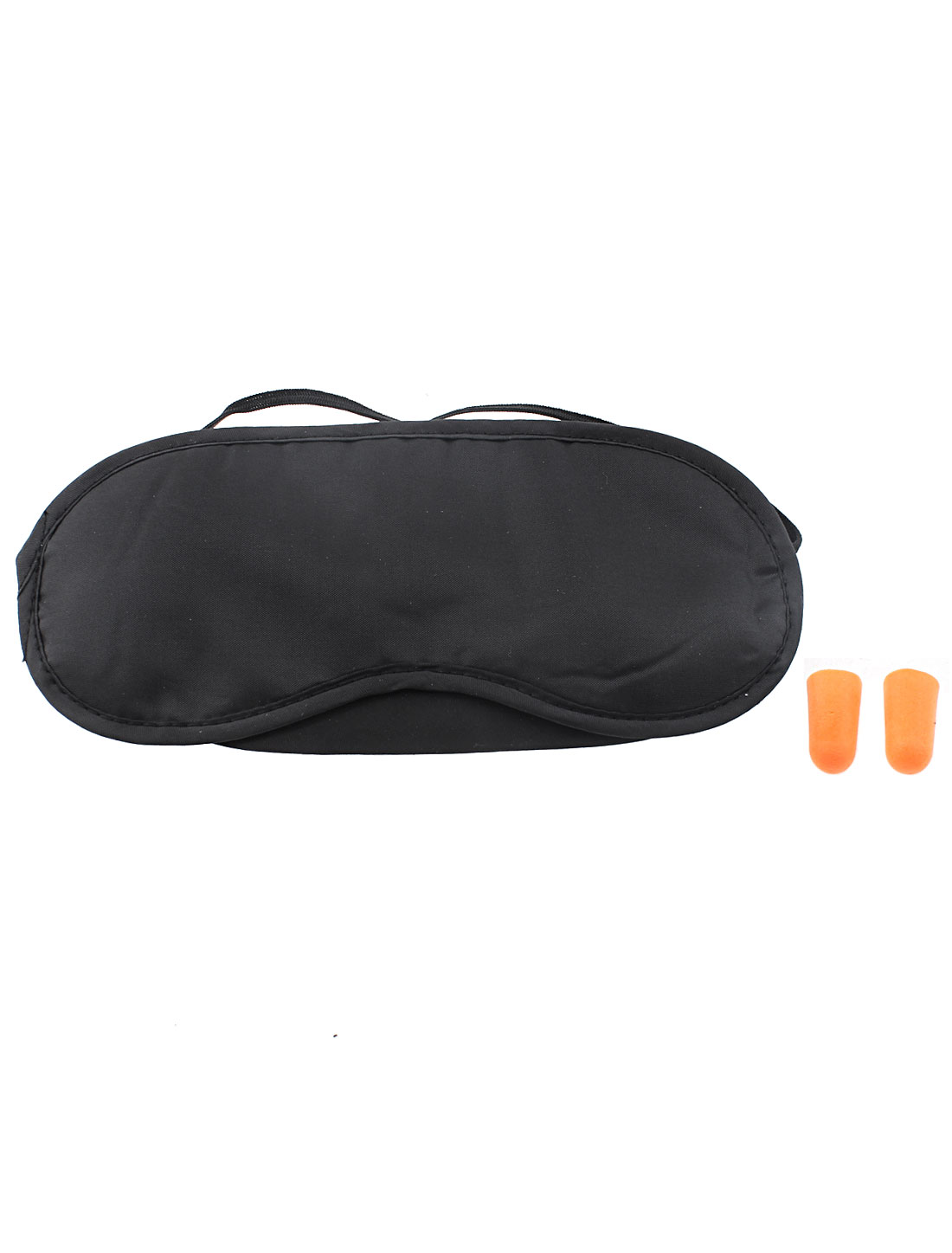 Elastic Strap Sleeping Rest Relax Eyeshade Eye Patch Mask Cover Black w Earplugs