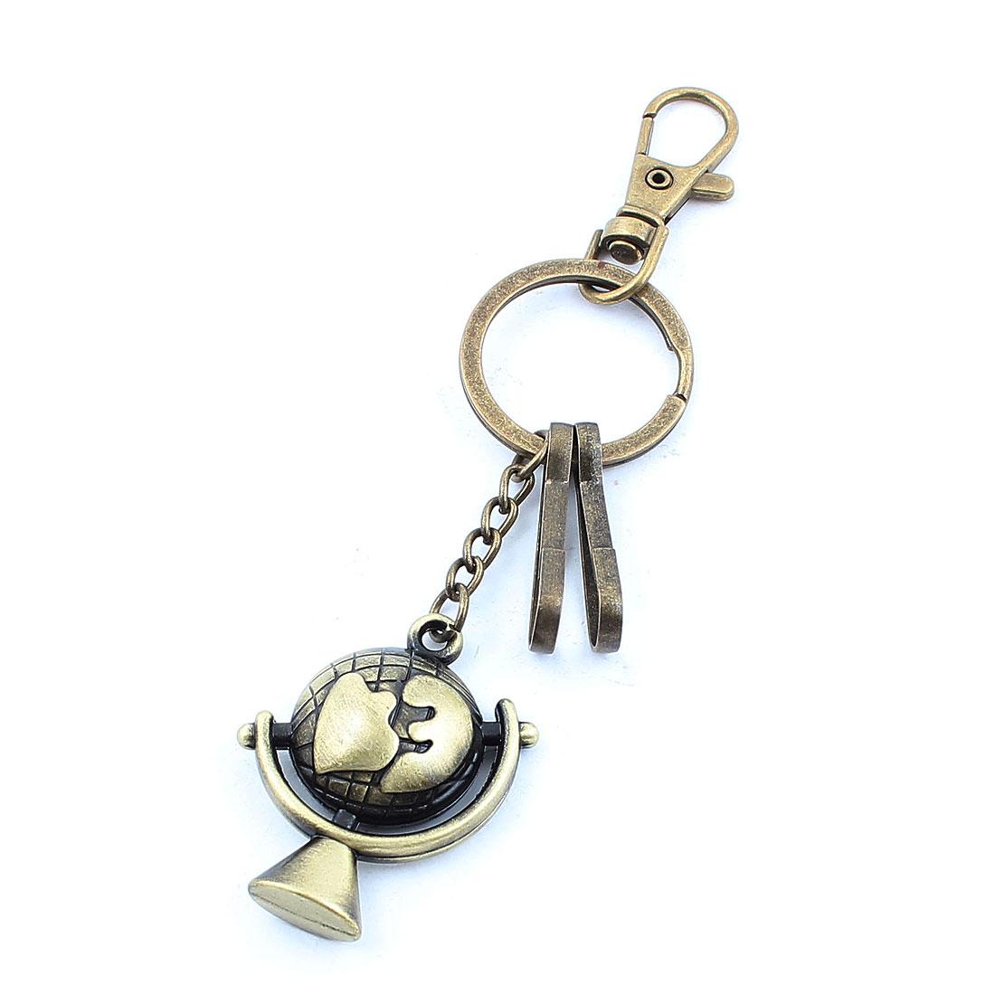 Metal Lobster Clasp Clip Hook Globe Shape Pendant Keychain Keyring Bronze Tone