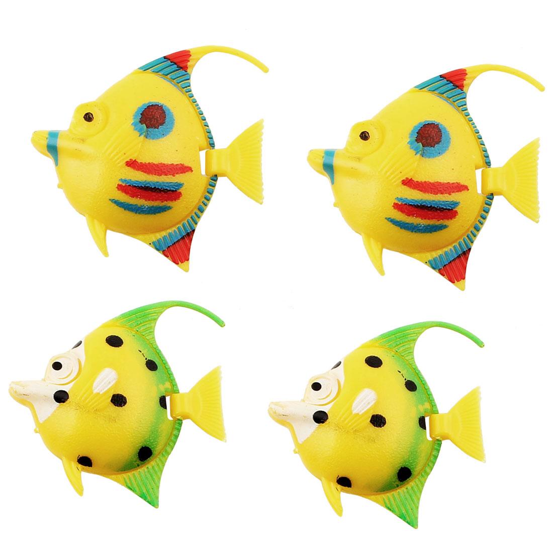 Aquarium Artificial Fake Floating Fish Decoration Ornament Yellow 4pcs