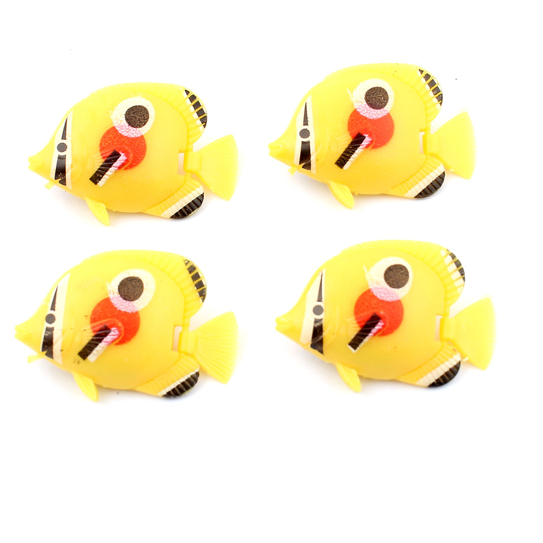 Aquarium Artificial Floating Plastic Fish Decoration Ornament Yellow 4pcs
