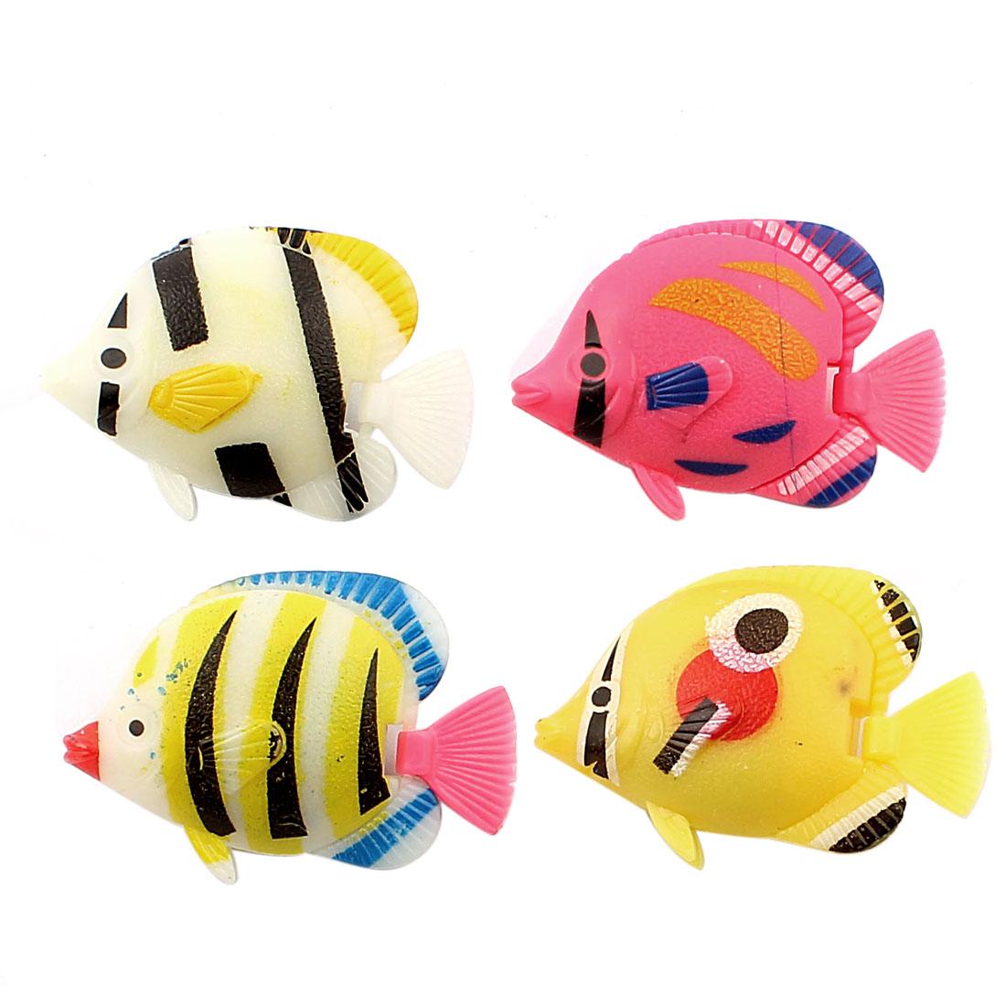 Aquarium Artificial Fake Floating Plastic Fish Decoration Ornament 4pcs