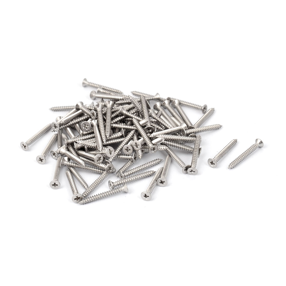M2.9 x 25mm Cross Head Countersunk Self Tapping Screw Fasteners 100 Pcs