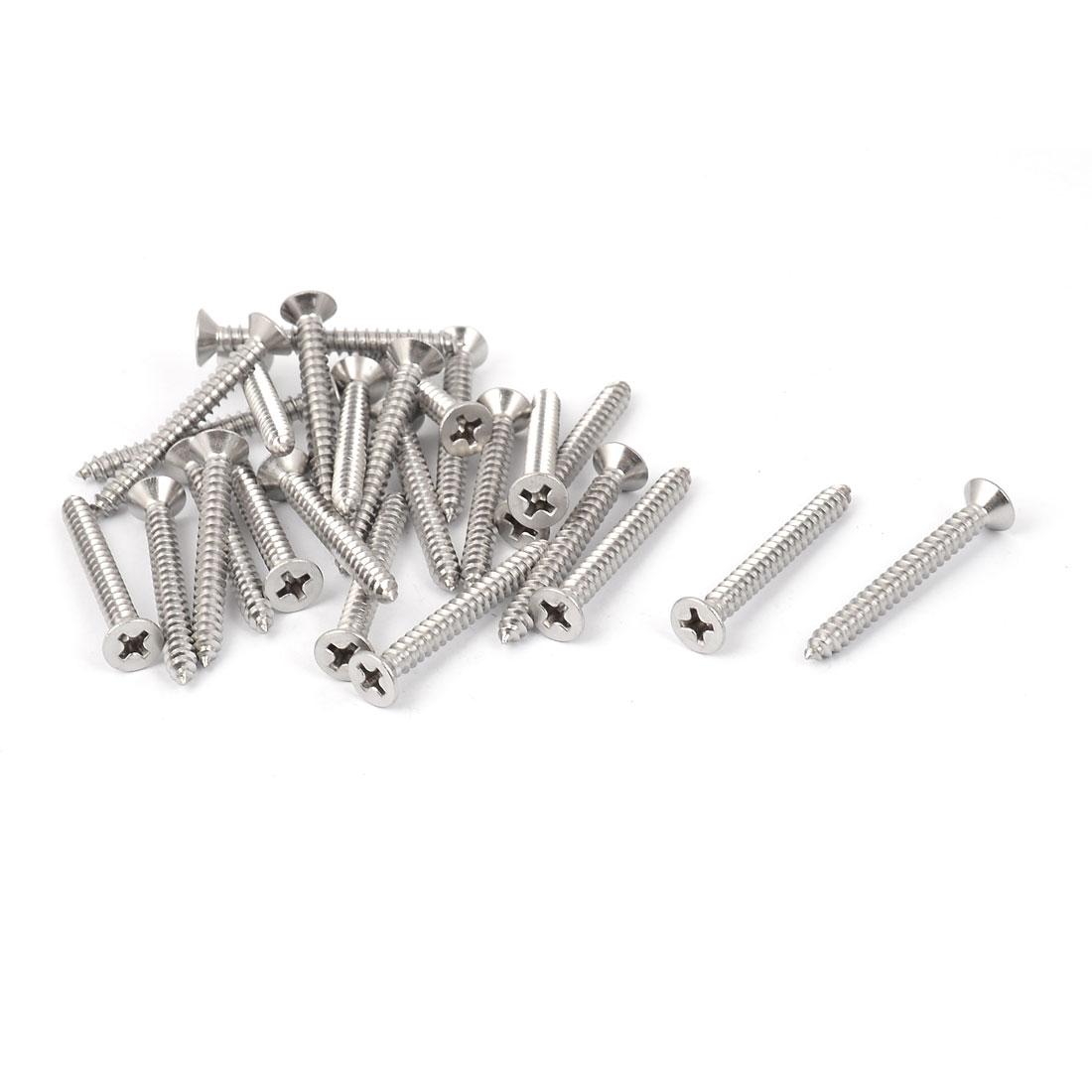 M3.9 x 35mm Flat Head Phillips Self Tapping Screw Fasteners Silver Tone 25 Pcs