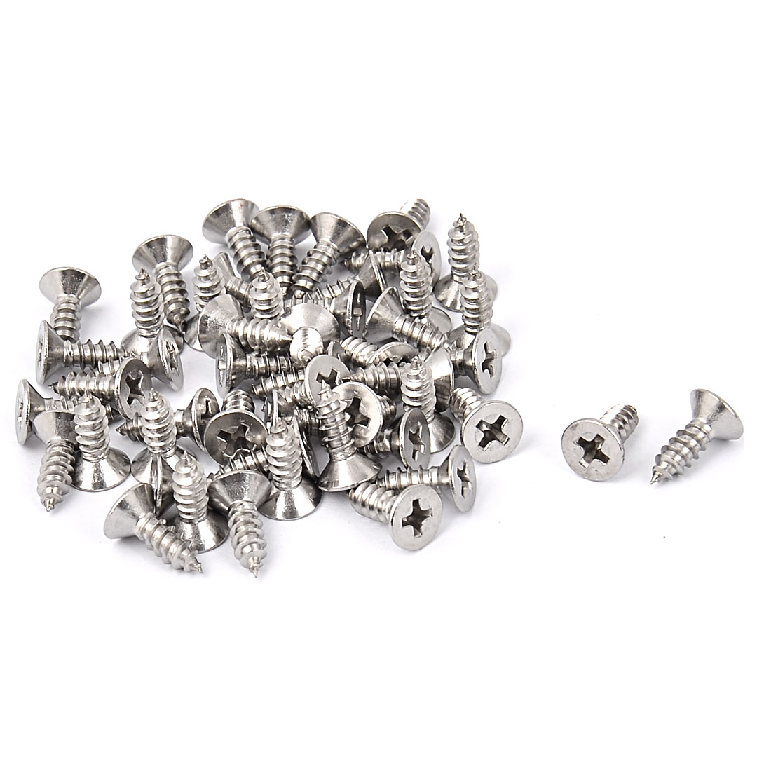 M4.2 x 13mm Countersunk Cross Head Self Tapping Screw Fasteners 50 Pcs