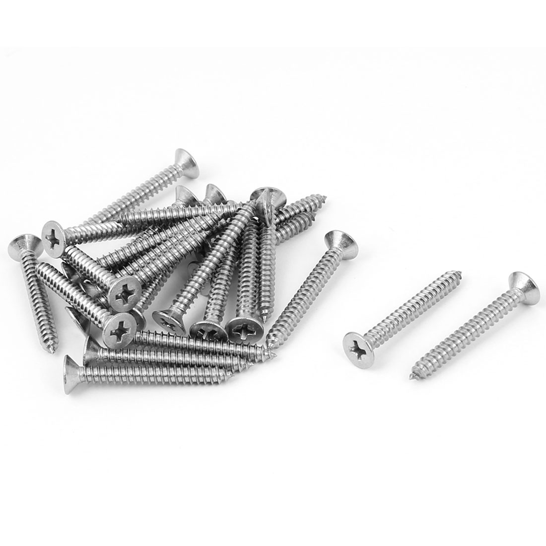 M4.2 x 35mm Phillips Flat Head Self Tapping Screw Silver Tone 25 Pcs