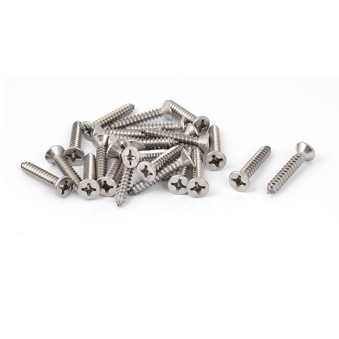 M5.5 x 32mm Flat Head Phillips Self Tapping Screw Fasteners Silver Tone 25 Pcs
