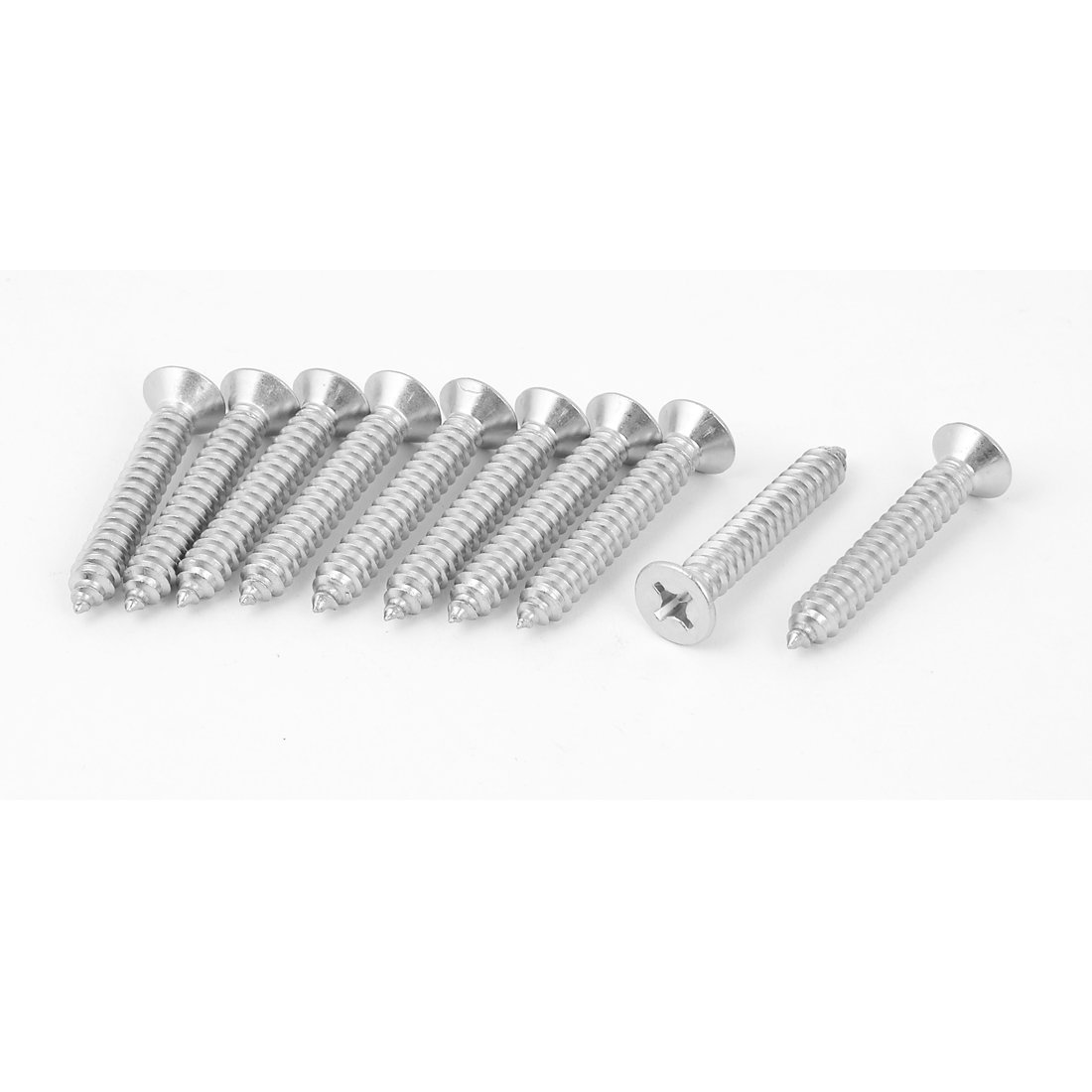 M6.3 x 40mm Cross Head Countersunk Self Tapping Screw Silver Tone 10 Pcs