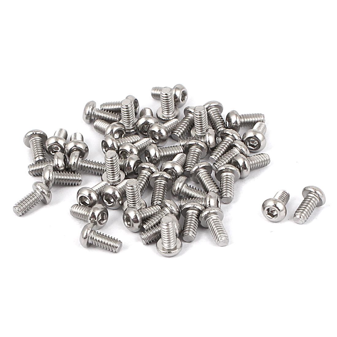 M2 x 4mm Full Thread Button Head Socket Cap Screw Silver Tone 50 Pcs