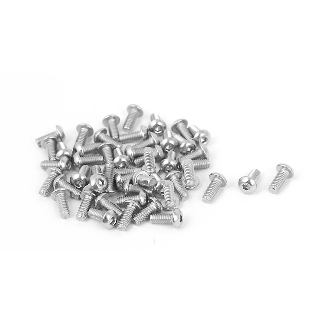 M2.5 x 6mm Full Thread Button Head Socket Cap Screw Silver Tone 50 Pcs