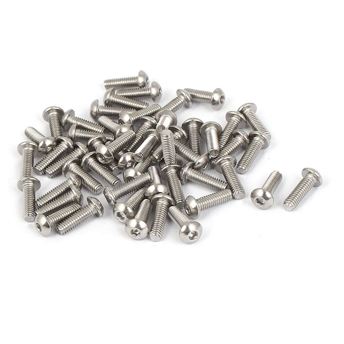 M2.5 x 8mm Full Thread Button Head Socket Cap Screw Silver Tone 50 Pcs