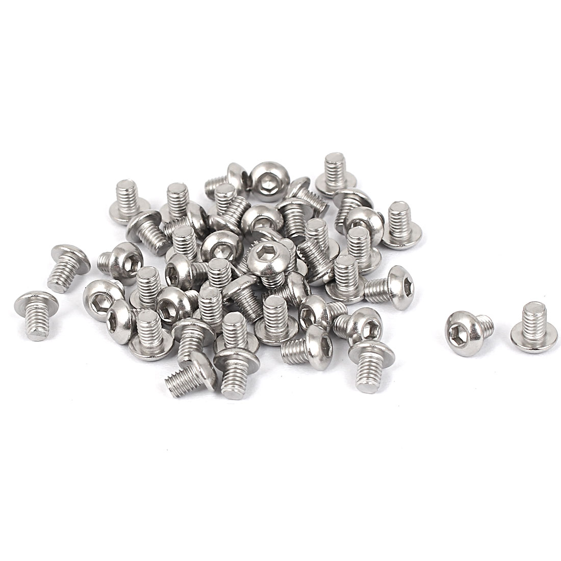 M3 x 4mm Full Thread Stainless Steel Button Head Socket Cap Screw Silver Tone 50 Pcs
