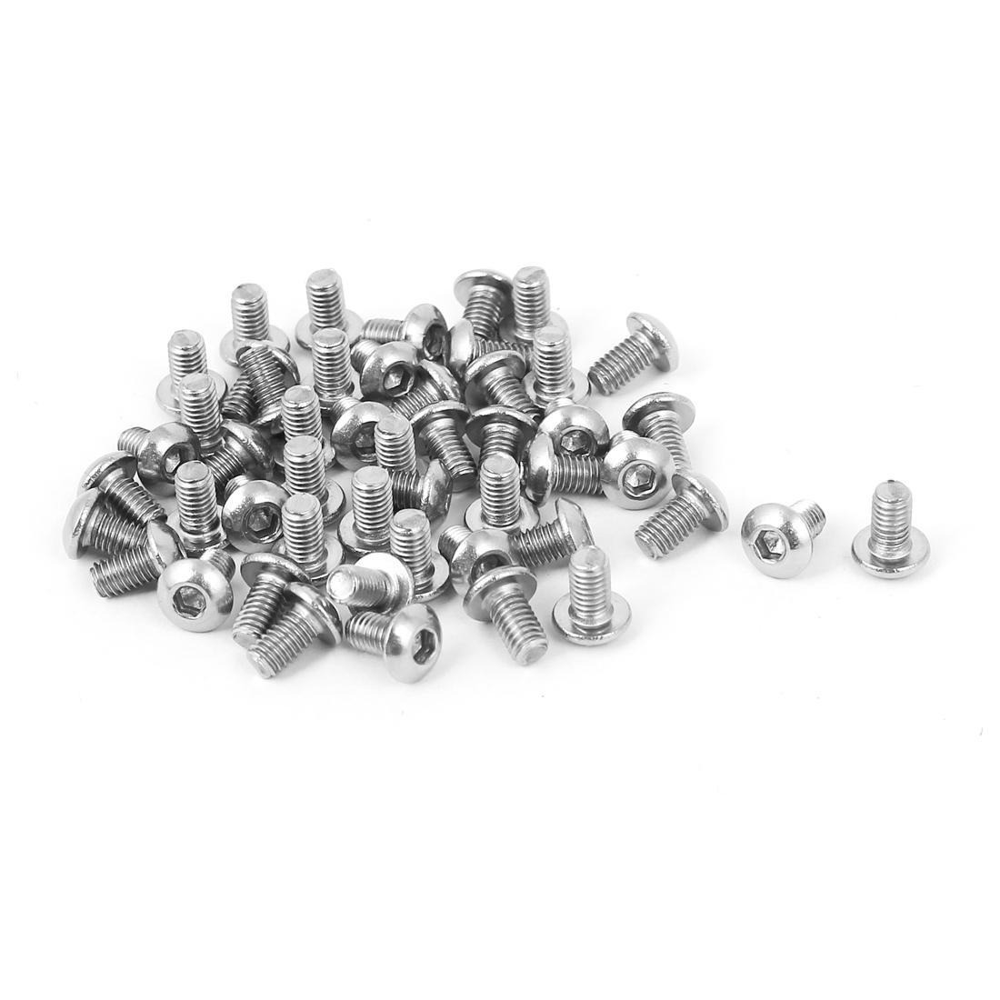50 Pcs M3 x 5mm Full Thread Stainless Steel Button Head Socket Cap Screw